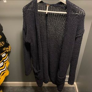 Free People Knit Navy Cardigan